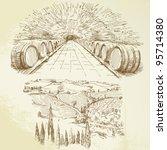 wine  winery  vineyard   hand... | Shutterstock .eps vector #95714380