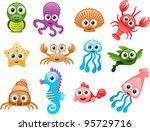 vector sea animals cartoon set  ...   Shutterstock .eps vector #95729716