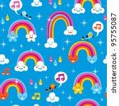 cute rainbows pattern   Shutterstock .eps vector #95755087