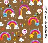 cute rainbows pattern - stock vector