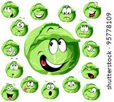 cabbage cartoon with many... | Shutterstock .eps vector #95778109