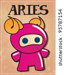 zodiac sign aries with cute... | Shutterstock .eps vector #95787154