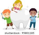 illustration of kids brushing a ...   Shutterstock .eps vector #95801185