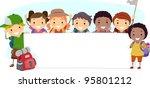 illustration of campers holding ... | Shutterstock .eps vector #95801212