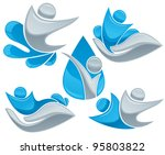 water drops  people and hands ... | Shutterstock .eps vector #95803822