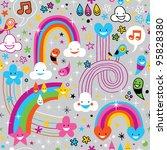 clouds rainbows rain drops fun pattern - stock vector