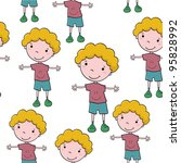 seamless pattern with cartoon... | Shutterstock .eps vector #95828992