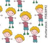 seamless pattern with cartoon... | Shutterstock .eps vector #95828992