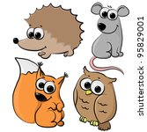 set of cute cartoon animals... | Shutterstock .eps vector #95829001