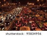 beijing oct 25  traffic jam in... | Shutterstock . vector #95834956