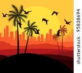 dunes and migrating birds in... | Shutterstock .eps vector #95838694