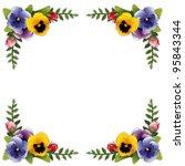 flower frame  garden pansies ... | Shutterstock .eps vector #95843344