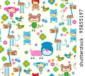 cute animals seamless background | Shutterstock .eps vector #95855197