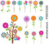 colorful retro flowers and tree ... | Shutterstock .eps vector #95855200