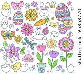 Easter Notebook Doodles Vector...