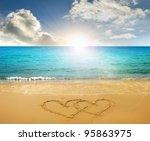 Hearts Drawn In Beach