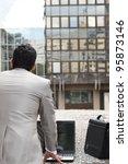 back view of a businessman...   Shutterstock . vector #95873146