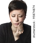 close up photo of beautiful woman having toothache - stock photo