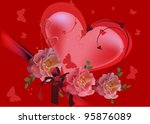 illustration with red heart and ...   Shutterstock .eps vector #95876089