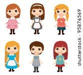cute girls set   Shutterstock .eps vector #95876569