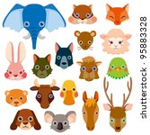 vector animal head icons | Shutterstock .eps vector #95883328
