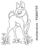 coloring page with young deer.... | Shutterstock .eps vector #95884759