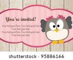 baby girl shower owl card | Shutterstock .eps vector #95886166