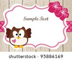 wooden card with cute owl and... | Shutterstock .eps vector #95886169