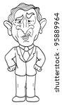 cartoon vector outline illustration of President George W. Bush