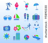 summer icons  vector | Shutterstock .eps vector #95890330