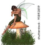 Fairy Boy with green gossamer wings sitting on a toadstool half-asleep, 3d digitally rendered illustration - stock photo