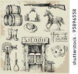 hand drawn wild west set | Shutterstock .eps vector #95896558