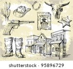 hand drawn wild west set | Shutterstock .eps vector #95896729