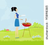 woman cooking on a grill | Shutterstock .eps vector #95898385