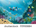 Stock vector underwater landscape with various water plants and swimming tropical fishes all objects are 95900884