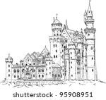 vector - Neuschwanstein Castle in Germany isolated on background