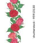 Seamless vertical border with roses on white background. - stock vector