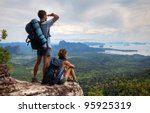backpackers on top of a...   Shutterstock . vector #95925319