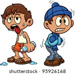 cartoon kid in hot and cold...   Shutterstock .eps vector #95926168