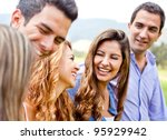 happy group of friends talking... | Shutterstock . vector #95929942