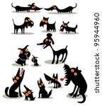 Stock vector set of funny black dogs 95944960