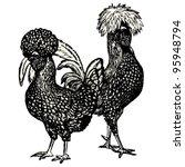 hen and cock  polish race  ... | Shutterstock .eps vector #95948794
