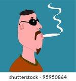 bald man smoking marijuana...