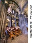 interior of Saint Nicholas Cathedral in Monaco - stock photo