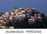 aerial view of Corniglia village, Cinque Terre, Italy - stock photo