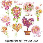 greeting bouquets | Shutterstock .eps vector #95955802
