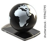 Internet and connection: Earth globe on the smart phone screen isolated on white - stock photo