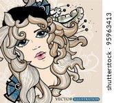 vector illustration of a girl... | Shutterstock .eps vector #95963413