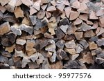 wall of chopped firewood pieces   Shutterstock . vector #95977576