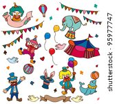 cartoon happy circus show icons ... | Shutterstock .eps vector #95977747